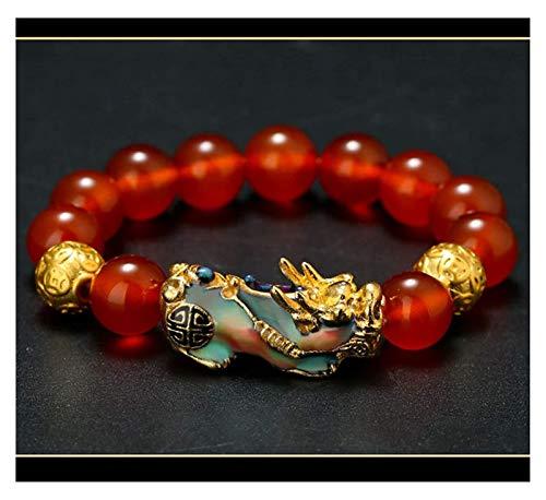 FLYAND Feng Shui Riqueza Pulsera Natural Rojo ágata cornaliano Chang Color pixiu/piyao Pulsera Perlas Prosperidad Amuleto atraer Afortunado Brazalete Regalo para Mujeres/Hombres