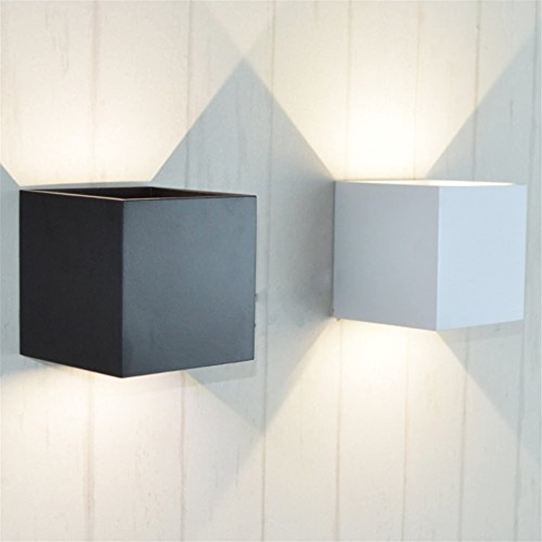 StiefelU LED Wandleuchte nach oben und unten Wandleuchten Led-Schlafzimmer Wohnzimmer Wand lampe Nachttischlampe gang Balkon Treppe leichte Aluminium Quadrat Art Wall light, Schwarz