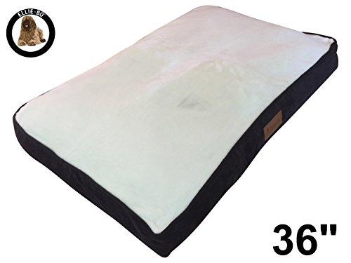 Grote 87 cm x 57 cm hondenbed bruin koordzijkanten en crème kunstbont topping passen Ellie-Bo kooi 91,4 cm grote honden of box