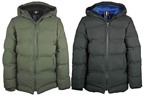 JACK & JONES Jungen Winter Jacke Parka mit Kapuze wattiert super warm, Farbe:Schwarz, Größe:146