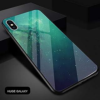 AcasZ ラグジュアリー携帯電話のケース 6 6 s 7 8 XS プラス X XR XS 最大宇宙宇宙星空スカイハードフレーム + 強化ガラスバックカバー,A3,For iPhone 8