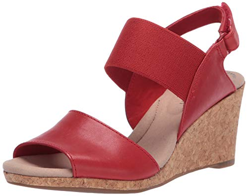 Clarks womens Lafley Lily Wedge Sandal, Red Leather/Textile Combi, 7.5 US