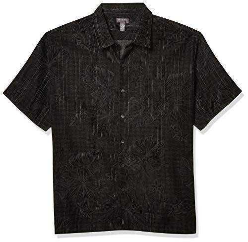 Van Heusen Men's Air Tropical Short Sleeve Button Down Poly Rayon Shirt, Black, X-Large