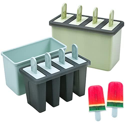 HQdeal 8Pcs Stampi Ghiaccioli, Formine Ghiaccioli Riutilizzabili, Stampi per Gelati in plastica di Alta qualità priva di BPA e Approvata dalla FDA, con Stick e Protezioni Antigoccia, Blu, Verde