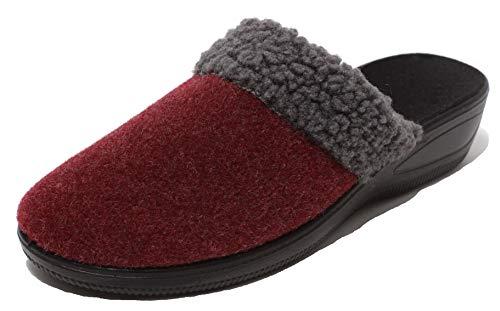 Zapato Damen Filzclogs Hausschuhe Pantolette Slipper Clogs Wörishofer Keilabsatz Sohle Gr. 38-39 Bordeaux rot mit Teddyfell in grau (39 EU)
