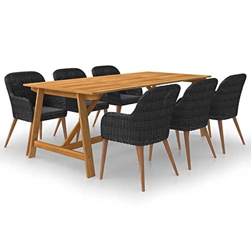 vidaXL Gartenmöbel Set 7-TLG. Gartengarnitur Sitzgarnitur Gartenset Sitzgruppe Tisch Stühle Esstisch Gartentisch Gartenstuhl Gartensessel Schwarz