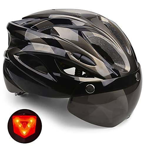 Casco Bicicleta, KINGLEAD Casco Bicicleta Hombre Mujer Certificado CE Casco Bicicleta con Luz LED