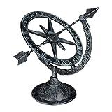 Relaxdays Reloj de Sol Antiguo, Decoración Jardín, Adorno para Exterior, Hierro Fundido, 1 Ud, 27 x 26 x 18 cm, Gris
