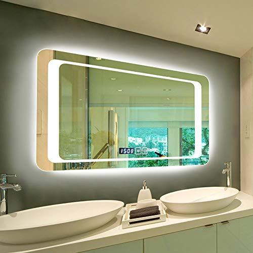 Ovilika Badspiegel mit LED-Licht, Rückseite beleuchtet, personalisierbar, rechteckig, silberfarben, mit Touch-Schalter und Anpassung