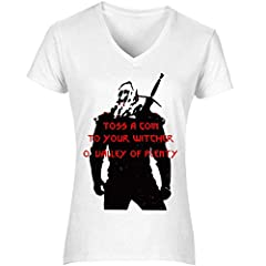The Witcher Toss A Coin Women's T-Shirt V Neck Camiseta Mujer Tshirt