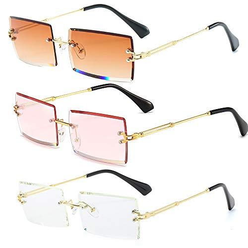 Dollger Rimless Rectangle Sunglasse For Women Men Frameless...