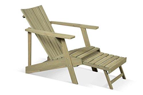 LANTERFANT - Adirondack Gartensessel Klaas, Verwittert, Bearchair, Canadian Deck Chair, ausziehbarem Fußteil, 125x73x81 cm
