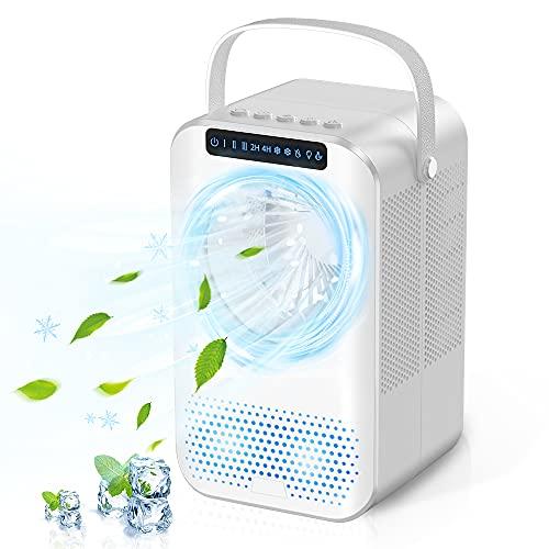 Mobile Klimagerät Mini luftkühler 600ML ,4-in-1-Mobile Klimaanlage, Desktop-Lüfter, persönliche Mini-Klimaanlage mit Reinigungsfunktion,Wassermangelalarm und Timer, für Büro/Zuhause