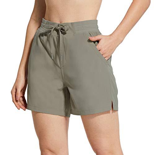 BALEAF Women's 5' Hiking Shorts with Zip Pocket Quick Dry Athletic Running Shorts Elastic Waist Gray S