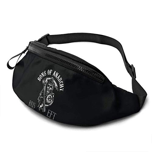 AOOEDM Sons of Anarchy Riñonera Casual Fitness Belt Bag Hombres Mujeres