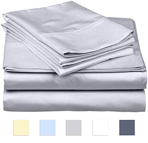 SanCozy Bed Sheets Set, 400 Thread Count, 4 Piece Set, Light Grey, Full, Sateen Weave, Long Staple Combed Cotton, Breathable, Fade Resistant, Deep Pocket Fits up to 18 inches