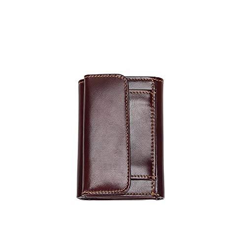 ZGRHZY portemonnee Zakelijke Rfid Antidiefstal Hasp Vrije tijd mannen gesp Bank Credit Card Trifold Geld Tas Chocolade Kleur