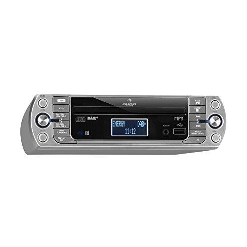 auna KR-400 CD Küchenradio Unterbau-Radio (DAB+/PLL FM Radio, CD/MP3-Player, Bluetooth, AUX, USB, 40 speicherbare Sender, LCD-Display, Koch- und Alarmfunktion, inkl. Fernbedienung), grausilber