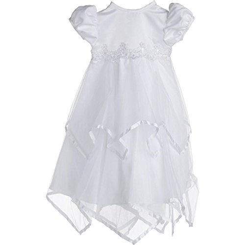 Lauren Madison Baby-Girls Newborn Handkerchief Skirt Dress Gown Outfit, White, 0-3 Months