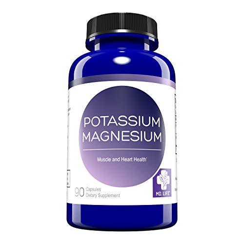 MD. Life Magnesium Potassium Supplement – 90 Capsules - High Absorption Magnesium Complex – Magnesium and Potassium for Vascular Health, Leg Cramps, Magnesium for Sleep – Non-GMO