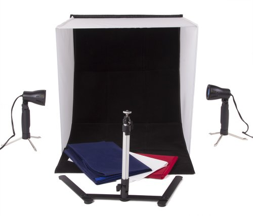 StudioPRO Square 24' x 24' Photo Studio Portable Product Photography Light with Light Set, Camera Stand, and Backgrounds