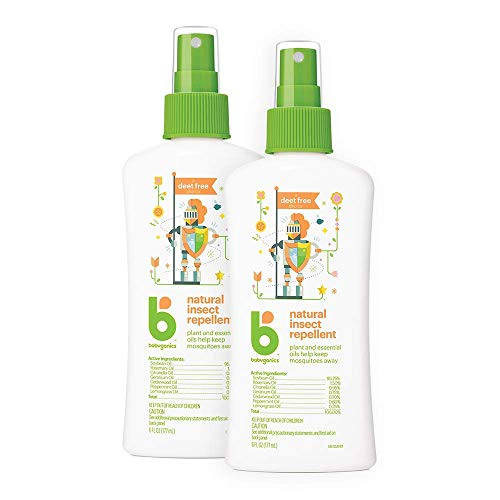 Babyganics DEET Free Travel Size Bug Spray | Natural Plant Based, 2 Pack (6 ounce)