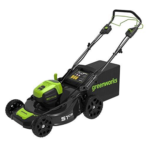 Greenworks Pro 80V 51cm Bürstenloser Akku-Rasenmäher, Selbstfahrend, Schnitthöhe 35-95mm, Klappbarer Griff, Vertikale Aufbewahrung, Mit 60L Tasche (ohne Akku und Ladegerät)