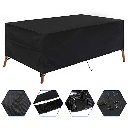 YoungBee Garden Furniture Covers, Rectangular Patio Table Cover, Waterproof & Dustproof, Anti-UV, Heavy Duty 420D PVC Oxford Fabric Outdoor Patio Furniture Cover 185 * 122 * 74cm