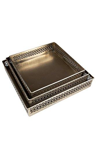 Oosterse hoekige dienblad set van metaal Mundra 3-delig | Marokkaans theetblad in de kleur zilver | Orient zilveren dienblad zilverkleurig | Oosterse decoratie op de gedekte tafel