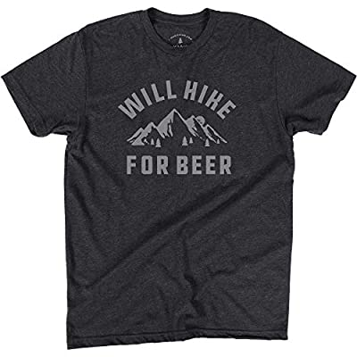 Will Hike for Beer | Fun T-Shirt for Outdoors Lovers | Funny Gift Idea for Dad, Mom, Husband, Wife, BoyfriendPrinted in USA (Medium) Charcoal Gray