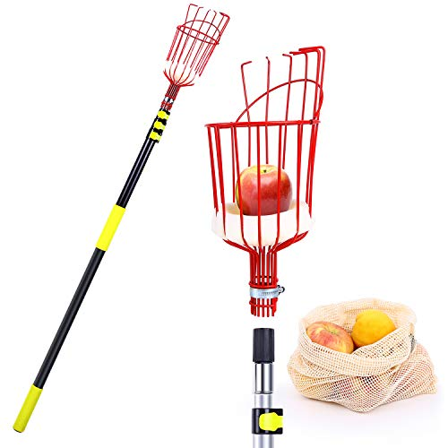 Ohuhu Fruit Picker Tool, 13 FT Upgraded Fruit Picking Equipment with Shorter Contraction Pole & Detachable Metal Basket, Lightweight & Heavy Duty Aluminum Telescopic Pole, Bonus Fruit Carrying Bag