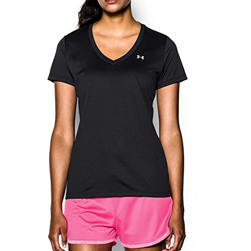 Under Armour Women's Tech V-Neck, Black /Metallic Silver, Large