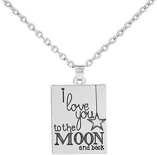 Collar para Mujeres Hombres Aleación Collar Llamativo I Love You To The Moon and Back Square Colgante Letra Grabado Gargantilla Charms Joyería de Bricolaje Colgante Collar Niñas Niños Regalo