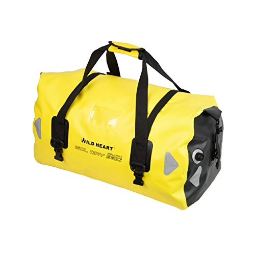 WILD HEART Waterproof Bag Duffel Bag 40L 66L 100L with Welded Seams Shoulder Straps, Mesh Pocket for Kayaking, Camping, Boating,Bicycle,Motorcycle (66L(yellow))