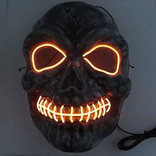 BFMBCHDJ Neon Masken Halloween Scary Schädel Maske LED Masque Maskerade Mascara Cosplay Karneval Party Masker Skeleton Orange Einheitsgröße