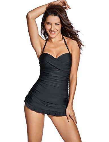 DOBREVA Women's Bandeau Halter Tummy Control One Piece Skirted Swimsuit Swimdress Bathing Suit Black 4-6