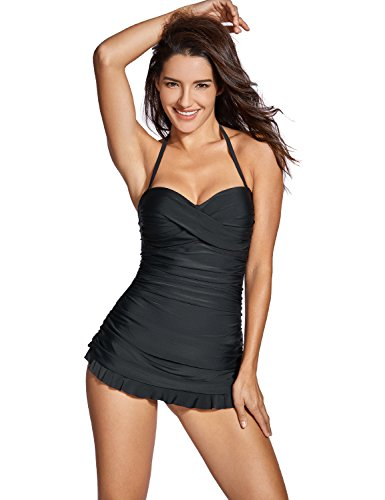 DOBREVA Women's Bandeau Halter Tummy Control One Piece Skirted Swimsuit Swimdress Bathing Suit Black US 14