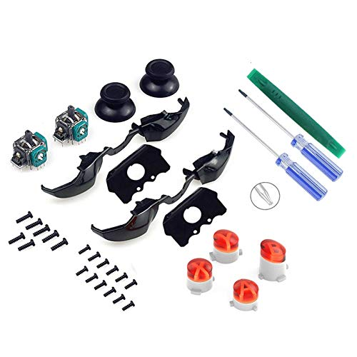 Onyehn 2-Pack Replacement Thumbsticks Joysticks Black Replacement LB RB Bumpers Triggers Buttons(with ABXY Buttons Mod Kit and T6 T8 Screwdriver Repair Kit) Compatible for Xbox One Elite Controller