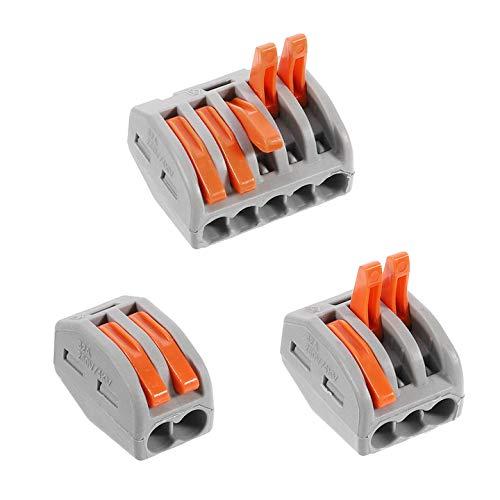 Xinstroe Elektrische Anschlussblöcke, 60er-Pack-Kabelverbinder Leiter-Kabelverbinder mit Federdruckhebel für Feste, verseilte und Flexible Kabel