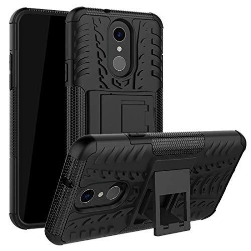 LG Q7, Fall, LG Q7, Plus Tasche, mustaner Dual Layer Dämpfung Armor Schutzhülle Ganzkörper-Schutzhülle mit Kickstand Combo PC + TPU Rückseite für LG G7, Schwarz