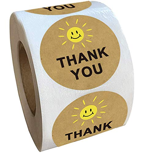 1.5 Inch Yellow Smiley Happy Face Thank You Stickers - Kraft Round Circle Dots Labels Smile Mailing Thank You Stickers 500 Adhesive Labels (Yellow, 1.5 Inch)