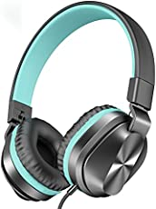 On-Ear Headphones with Microphone, Universal Foldable Wired Headphones for Adults Children Boys Girls Kids, Lightweight Portable Stereo Headphones with 1.5M Tangle-Free Cord for School Home (Mint)