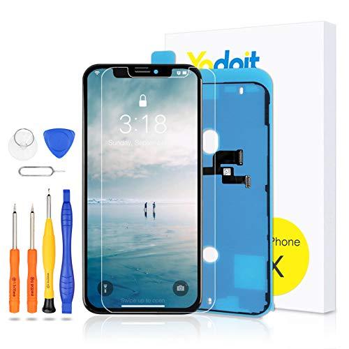 Yodoit Display per iPhone X LCD Schermo Nero, Sostituzione Vetro Digitalizzatore Parti 5,8 Pollici di Ricambio con Kit di Riparazione, Modello A1865, A1901, A1902