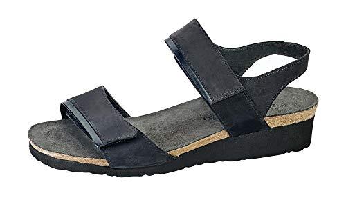 Naot Footwear Women's Aisha Sandal Black Velvet Nubuck/Black Madras Lthr 11 W US