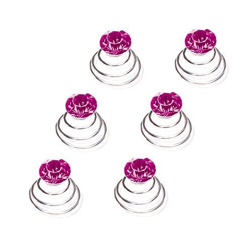 Autiga Haar Curlies Kristall Haarspiralen Haarcurlies Hochzeit Braut Haarschmuck versilbert Kommunion pink 12er Set