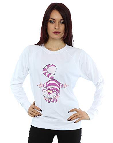 Disney Women's Alice in Wonderland Cheshire Cat Upside Down Sweatshirt White X-Large
