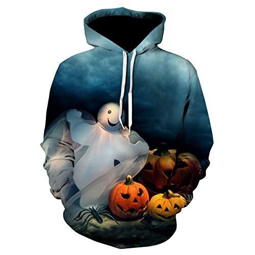LOPILY Halloween Kostüme Unisex Kürbis Sweatshirts Halloween Gruselige Skelett Sweatshirt 3D Kapuzenhoodie Ärger Kürbis Printed Pullover Damen Halloween Party Shirt mit Fledermaus (Mehrfarbig, 40)