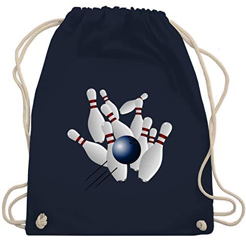 Shirtracer Bowling & Kegeln - Bowling Strike Pins Ball - Unisize - Navy Blau - kegel pin - WM110 - Turnbeutel und Stoffbeutel aus Baumwolle