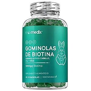 Gominolas De Biotina 5000 mcg Alta Dosis 60 Unidades - Para Crecimiento Cabello, Piel y Uñas, Suplemento con Biotina, Zinc, Ácido Fólico, Vitamina C, A,Vitamina B12, B6, Sabor Arándano y Frambuesa