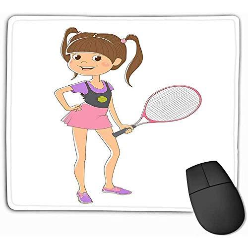 Muis Pad Afbeelding Meisje Tennis Racket Geïsoleerd Staand Paars Roze Rok Roze Rechthoek Rubber Mousepad 30X25CM